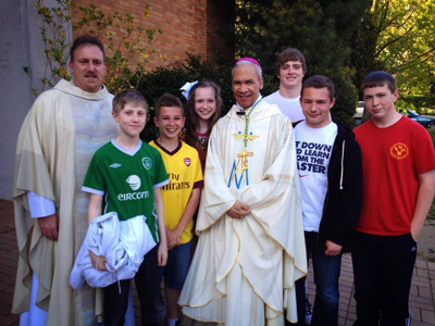 Bishop John Ricard with Fr. Bob and altar servers after 5pm Mass, May 4, 2013.