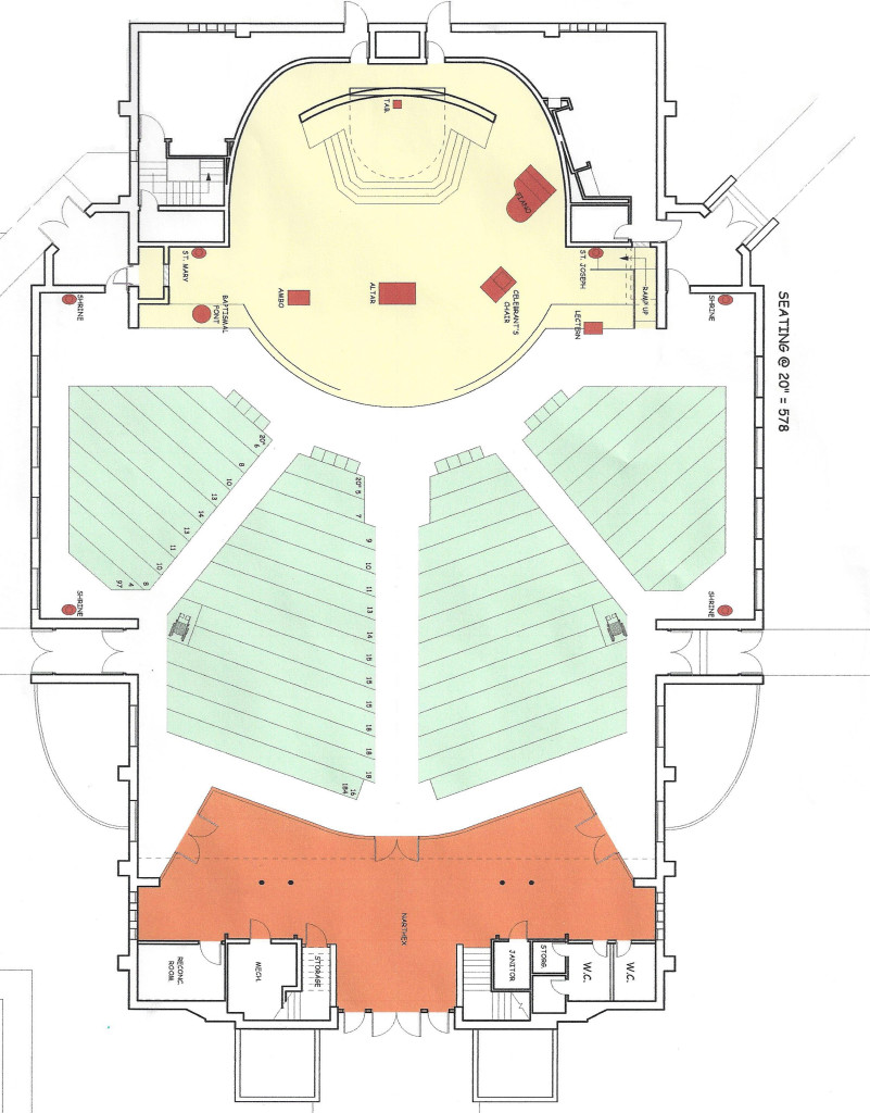 A proposed floor plan for the renovation of St. Boniface Church.