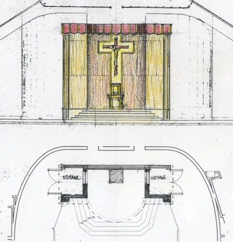 Proposal Nol 1 for a reredos for the renovated sanctuary.