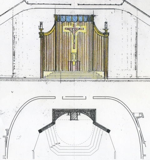 Proposal No. 2 for a reredos in the renovated sanctuary (above).