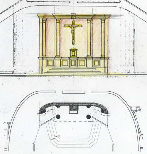 Proposal No. 3 for a reredos in the renovated sanctuary (above).