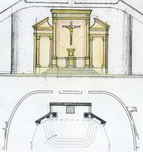 Proposal No. 5 for a reredos in the renovated sanctuary (above).