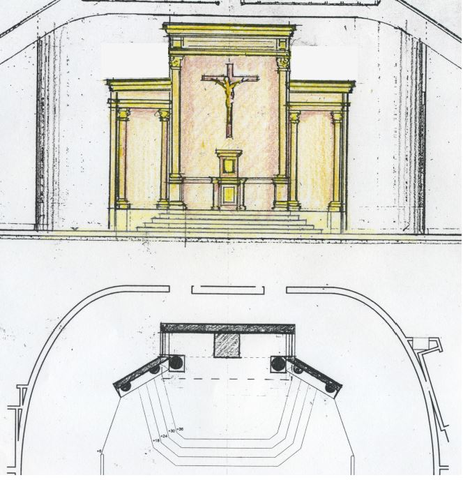 Proposal No. 4 for a reredos in the renovated sanctuary (above).