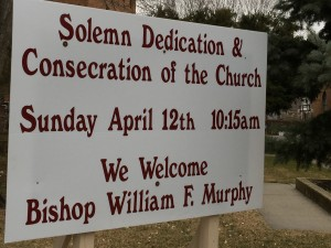 Dedication sign welcoming Bishop Murphy